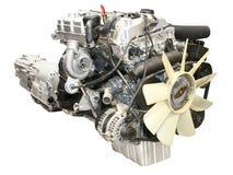 Car engine. New car engine isolated on white royalty free stock photography
