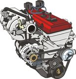 Car engine. Engine of internal combustion frontal Royalty Free Stock Photography