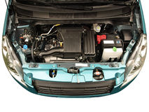 Car engine. A Japanese compact car with engine bay exposed royalty free stock images