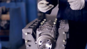 Car engine assembling. stock video footage