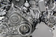 Car engine belt and gears Royalty Free Stock Image