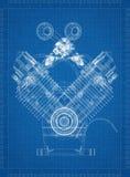 Car Engine blueprint vector illustration