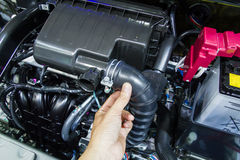Car engine checking Stock Images