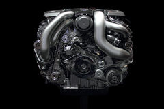 Car engine chrome front. New car engine isolated on black background front view Stock Photo