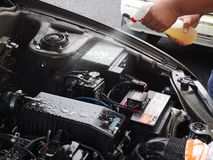 Car engine cleaning royalty free stock photos