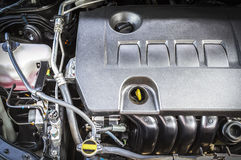 Car engine. Closeup compartment of car engine under hood Royalty Free Stock Images