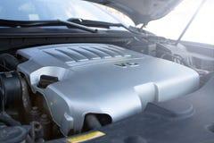 Car engine compartment. Close up stock photos