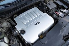 Car engine compartment. Close up stock photo