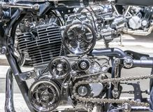 Car engine, concept of modern vehicle motor with metal, chrome, plastic parts, heavy industry Royalty Free Stock Photography