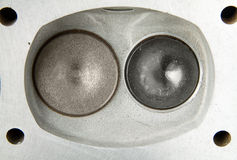 Car engine cylinder head valves Stock Photo