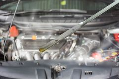 Car engine damage and burn by overheat due to low lube oil, Concept of car care service Stock Photography