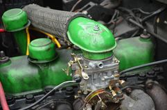 Car engine. Detailed of green car engine Royalty Free Stock Image
