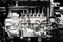 Car engine. Car diesel engine in black and white Royalty Free Stock Photography