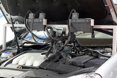 Diagnostic computer for auto electronics Stock Image