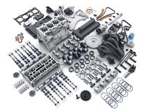Car engine disassembled. many parts. Royalty Free Stock Image