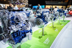 Car engine on display, Motor Show Geneve 2015. Stock Image
