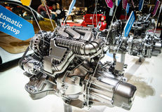 Car engine on display. Car engine at the 85th International Geneva Motor Show in Palexpo, Switzerland Royalty Free Stock Photography