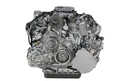 Car engine front view isolated Royalty Free Stock Photo