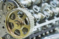 Car engine. gear on foreground Royalty Free Stock Image
