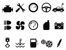Car engine icons set. Isolated black car engine icons set from white background Royalty Free Stock Photo