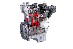 Car engine isolated. On white stock image
