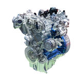 Car engine isolated on white. With clipping path stock images