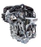 Car engine isolated on white. Modern downsized three cylinder cylinder car engine isolated on white background royalty free stock image