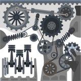 Car engine mechanism vector automobile motor details Royalty Free Stock Images