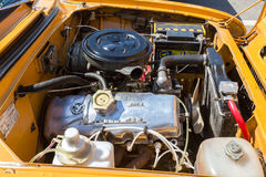 Car engine of old soviet vehicle Moskvich-412, under the hood of Stock Photo