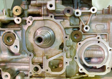 Car engine opened. Dirty car engine opened for repair Royalty Free Stock Photos