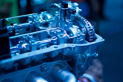 Car engine part, blue color tone Royalty Free Stock Photo