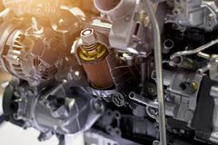 Car engine part, vehicle motor and cut metal car engine Stock Photography