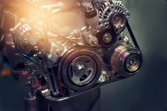 Car engine part on dark background Royalty Free Stock Photography