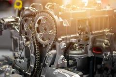 Car engine part, vehicle motor and cut metal car engine Stock Photo