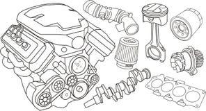 Car engine parts. Set of car part contours Royalty Free Stock Photos