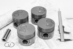 Car engine pistons Royalty Free Stock Image