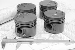 Car engine pistons Royalty Free Stock Photo
