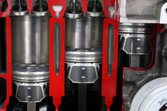 Car engine pistons and valves. Detail Royalty Free Stock Image