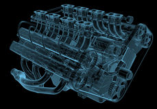 Car engine. X-ray blue transparent isolated on black Stock Image