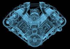 Car engine. X-ray blue transparent isolated on black Stock Photo