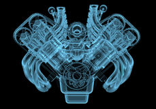 Car engine. X-ray blue transparent isolated on black Royalty Free Stock Image