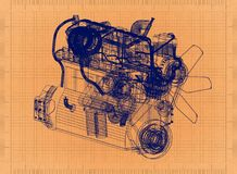 Car Engine - Retro Blueprint stock illustration