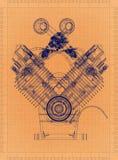Car Engine - Retro Blueprint vector illustration