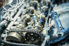 Car engine with shallow depth of field Stock Image