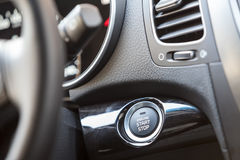 Car engine start button. Button automatically start and stop the engine car Stock Photo