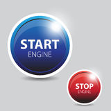 Car engine start and stop button Royalty Free Stock Images