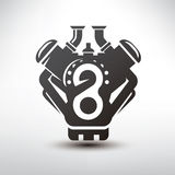 Car engine symbol, stylized vector silhouette Royalty Free Stock Images