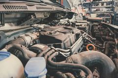 Car engine on the test. Voltage metering process stock photos