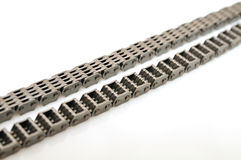 Car engine timing chain with selective focus. royalty free stock image