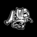 Car engine turbo muscle car speedster illustration. Car engine muscle car engine speedster illustration Royalty Free Stock Photography